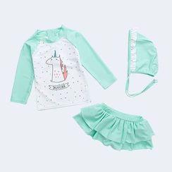 Morning Dew - Kids Set: Unicorn Print Rash Guard + Swim Skirt + Swim Cap