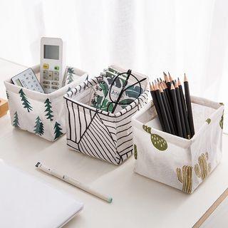 Showroom - Printed Linen Cotton Desk Organizer Basket