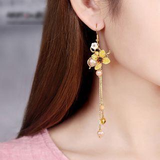 Gangnam - Retro Faux Pearl Shell Flower Dangle Earring