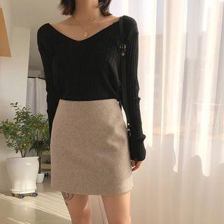 icecream12 - Wool Blend H-Line Miniskirt