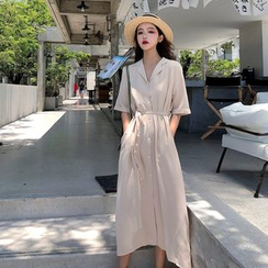 Alfie - Plain Short-Sleeve Long Shirtdress