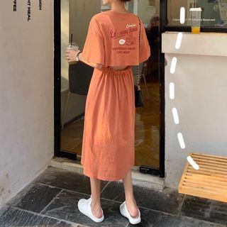 Moon City - Short-Sleeve Cutout Midi T-Shirt Dress