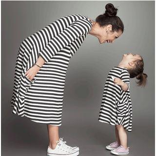 VIZZI - Family Matching Striped A-Line Dress
