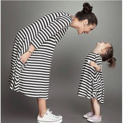 VIZZI - Family Matching Striped A-Line Dress