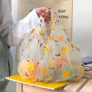 Geolte - Floral Embroidered Mesh Handbag