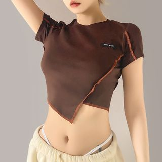 Sugarcoat - Short-Sleeve Asymmetrical Hem Cropped T-Shirt