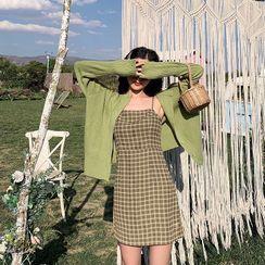 Ilda(イルダ) - Plaid Spaghetti Strap Mini A-Line Dress