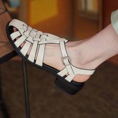佳美 - 纯色编织粗跟凉鞋