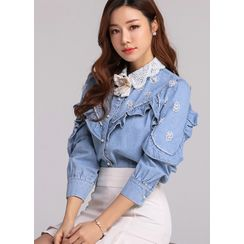 Styleonme - Lace-Collar Beaded Frilled Denim Blouse