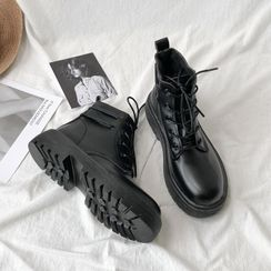 HOGG - Faux Leather Lace-Up Short Boots