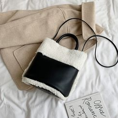 JAMEL - Two-Way Furry Paneled Crossbody Bag