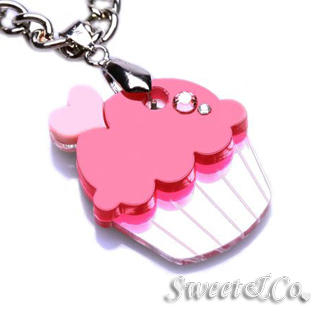 Sweet & Co. - Sweet&Co Mini Silver-Fuchsia Cupcake Crystal Necklace
