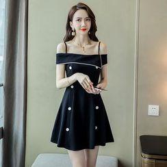 Sienne(シエンヌ) - Short-Sleeve Cold Shoulder A-Line Mini Dress