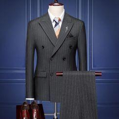 Blueforce - Set: Pinstriped Double-Breasted Blazer + Dress Pants