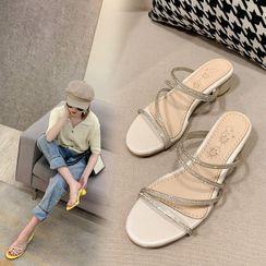 Martha - Rhinestone Strappy Block-Heel Sandals