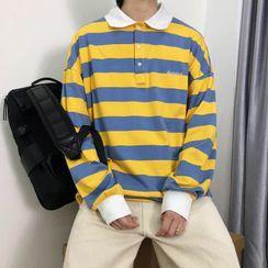Dukakis - Striped Long-Sleeve Polo Shirt