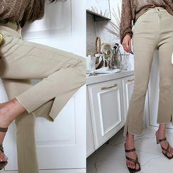 NANING9 - Asymmetric-Hem Boot-Cut Pants
