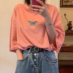 Chogen - Butterfly Print Elbow-Sleeve T-Shirt