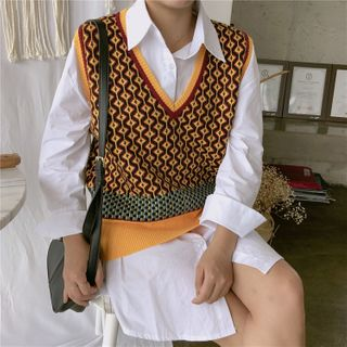 Auboi - Argyle V-Neck Knit Vest