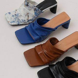 DEEPNY - Block-Heel Ruched Sandals