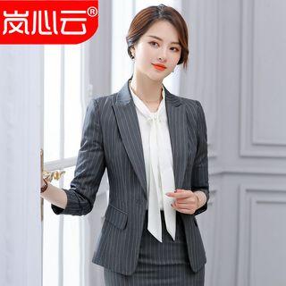 Skyheart - 條紋修身西裝外套 / 飾領帶襯衫 / 迷你鉛筆裙 / 九分西褲 / 套裝