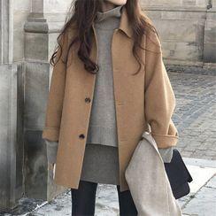 Sienne - Plain Buttoned Coat