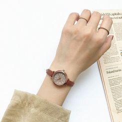 Cimmeria - Faux Leather Strap Watch / Flower Bracelet / Set