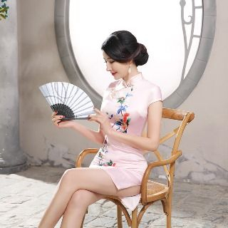 Golden Flowers - Cap Sleeve Embroidery Cheongsam