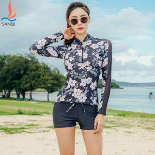 Salanghae - Set: Floral Print Long Sleeve Rashguard + Swim Shorts