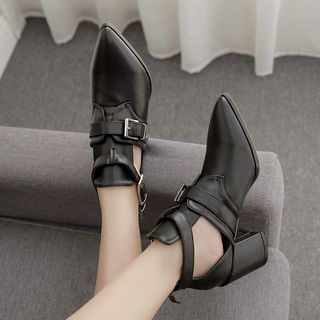 Niuna - Buckled Faux Leather Pointed Block Heel Ankle Boots