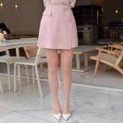 MyFiona - Inset Shorts Button-Detail Wrap Miniskirt