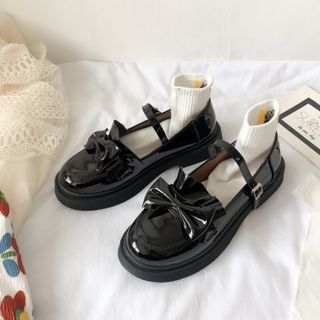 Stevvi - Bow Accent Platform Mary Jane Shoes