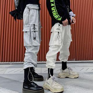 Chisan - Couple Matching Cropped Cargo Harem Pants