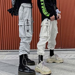 Chisan - Couple Matching Cropped Cargo Harem Pants