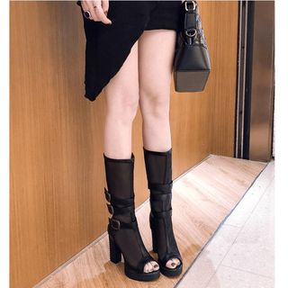 Freesia - Mesh Panel Peep Toe Buckled Chunky Heel Platform Knee High Boots