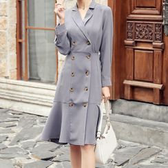 Yilda - Double-Breasted Ruffle Hem Coat Dress