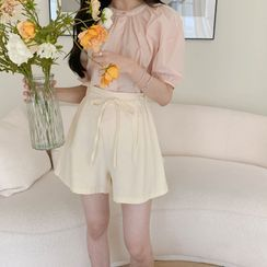 CHERRYKOKO - Self-Tie Linen Blend Shorts
