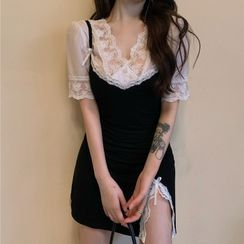 Windflower - Spaghetti Strap Slit Mini A-Line Dress / Short-Sleeve Lace Panel Blouse