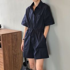 JOEJOE - 中袖飾鈕扣連衣短褲