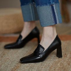 QQ Trend - Plain Chunky Heel Loafers