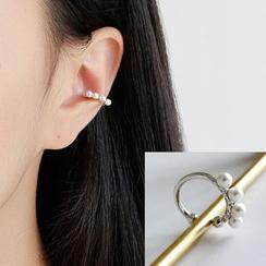 Phoenoa - 925纯银仿珍珠耳扣耳环