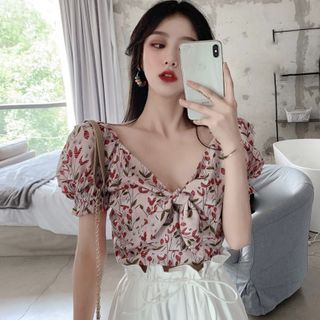Flowerisque - Floral V-Neck Puff-Sleeve Blouse