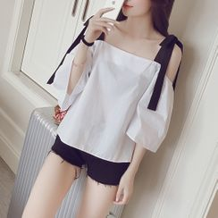 Tiny Times - Off-Shoulder Elbow-Sleeve Top