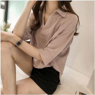 Frigga - 条纹七分袖衬衫
