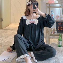 Dreamdazz - Maternity Pajama Set: Long-Sleeve Bow Ruffle Trim Top + Pants
