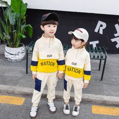 PAM - Set: Kids Color Panel Lettering Pullover + Jogger Pants