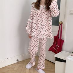 Noviril - Pajama Set: Long-Sleeve Cherry Print Top + Lounge Pants