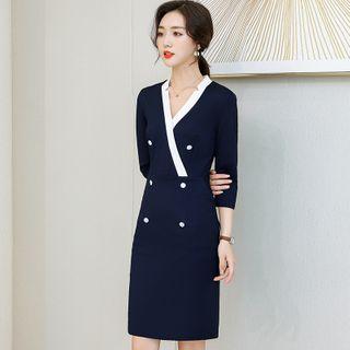 MARGOT - V-Neck Color Block  3/4-Sleeve Sheath Dress