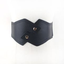 Goldenrod - Faux Leather Snap Button Corset Belt