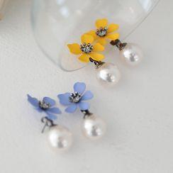 Lemite - Flower Faux-Pearl Drop Earrings